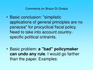 Comments on Braun-Di Gresia