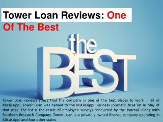Tower Loan Reviews: One Of The Best
