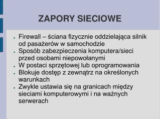 ZAPORY SIECIOWE