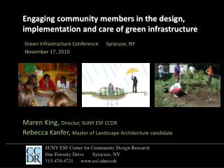 Engaging community members in the design, implementation and care of green infrastructure