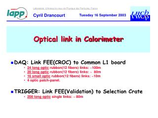 Optical link in Calorimeter