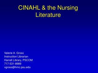 CINAHL & the Nursing Literature