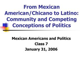 From Mexican American/Chicano to Latino: Community and Competing Conceptions of Politics