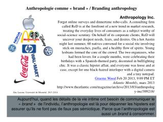 Anthropologie comme « brand » / Branding anthropology