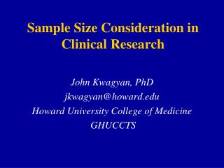 Sample Size Consideration in Clinical Research