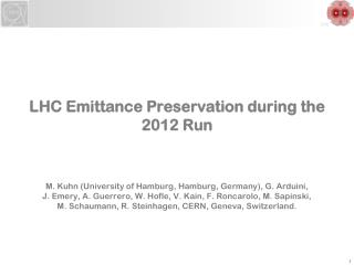 LHC Emittance Preservation during the 2012 Run