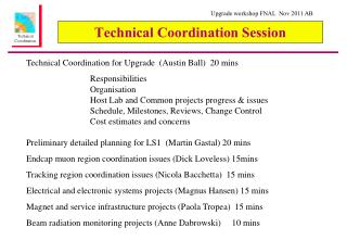 Technical Coordination Session