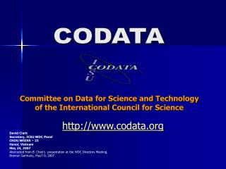 Committee on Data for Science and Technology  of the International Council for Science