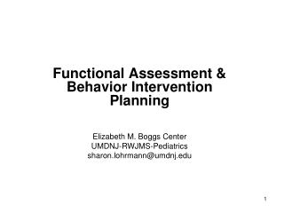 Functional Assessment & Behavior Intervention Planning
