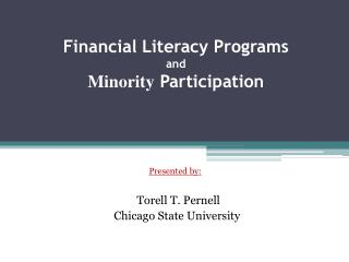 Financial Literacy Programs and Minority Participation
