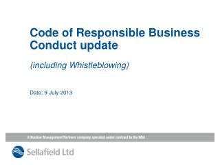 Code of Responsible Business Conduct update