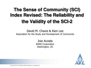 The Sense of Community (SCI) Index Revised: The Reliability and the Validity of the SCI-2