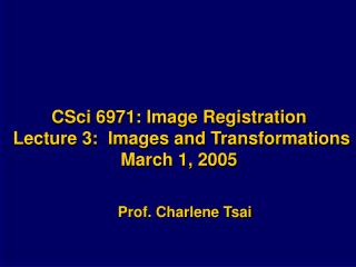 CSci 6971: Image Registration Lecture 3: Images and Transformations March 1, 2005