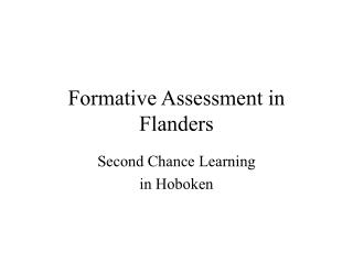 Formative Assessment in Flanders