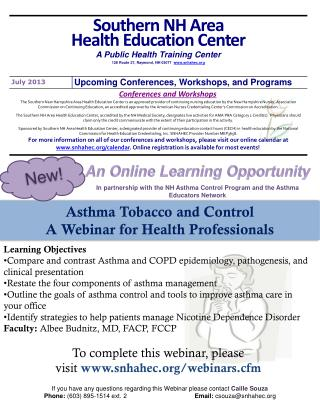 Asthma Tobacco and Control A Webinar for Health Professionals