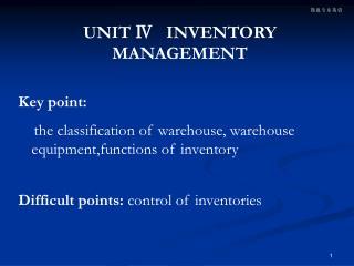 UNIT Ⅳ INVENTORY MANAGEMENT