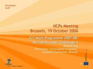 NCPs Meeting Brussels, 19 October 2006