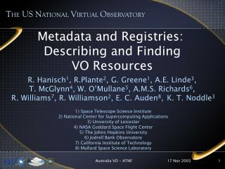 Metadata and Registries:  Describing and Finding VO Resources