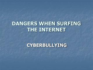 DANGERS WHEN SURFING THE INTERNET