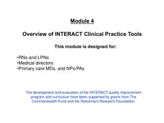 Module 4 Overview of INTERACT Clinical Practice Tools