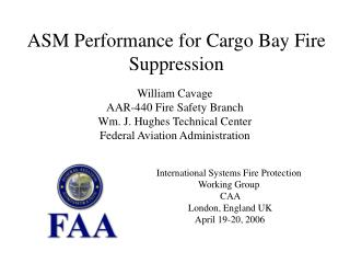 ASM Performance for Cargo Bay Fire Suppression