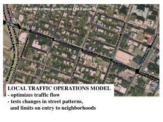 LOCAL TRAFFIC OPERATIONS MODEL - optimizes traffic flow - tests changes in street patterns,