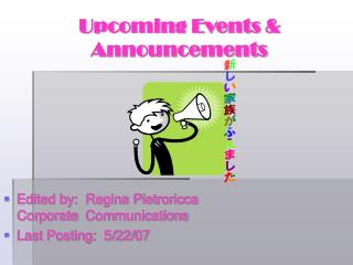 Upcoming Events & Announcements