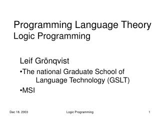 Programming Language Theory Logic Programming
