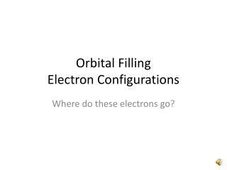 Orbital Filling Electron Configurations