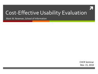 Cost-Effective Usability Evaluation