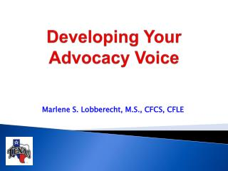 Developing Your Advocacy Voice
