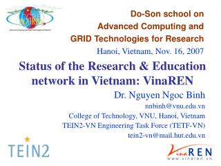 Status of the Research & Education network in Vietnam: VinaREN
