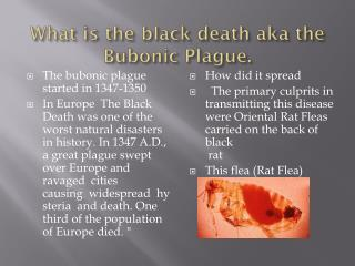 The bubonic plague started in 1347-1350