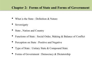 Chapter 2:  Forms of State and Forms of Government