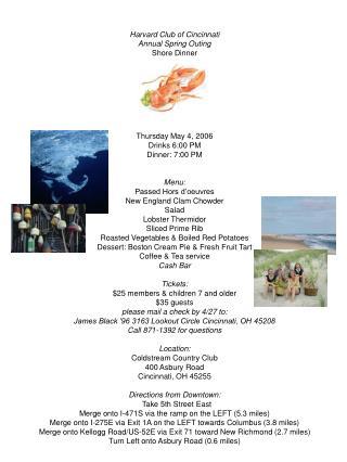 Harvard Club Shore Dinner Invite