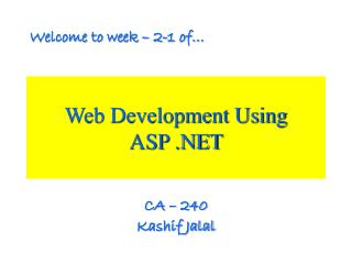 Web Development Using ASP .NET