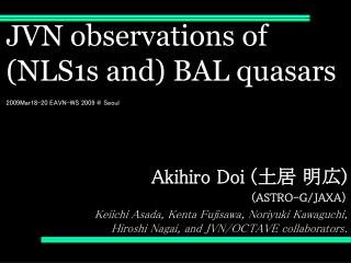 JVN observations of  (NLS1s and) BAL quasars 200 9Mar18-20 EAVN-WS 2009 @ Seoul