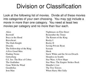 Division or Classification