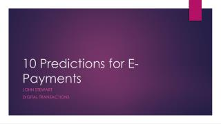 10 Predictions for E-Payments