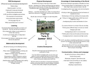 Starlings Term 5 Summer 2012