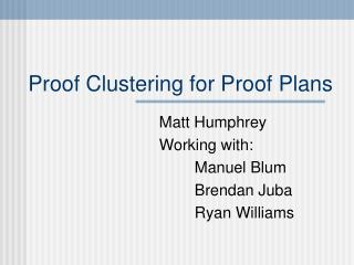 Proof Clustering for Proof Plans