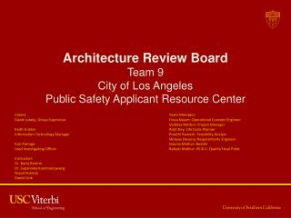 Architecture Review Board Team 9  City of Los Angeles  Public Safety Applicant Resource Center