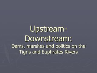 Upstream-Downstream:  Dams, marshes and politics on the Tigris and Euphrates Rivers