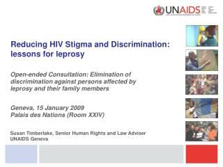 Reducing HIV Stigma and Discrimination: lessons for leprosy