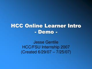 HCC Online Learner Intro - Demo -