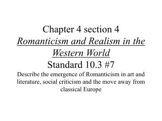 a history of romanticism in western literature