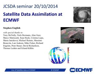 JCSDA seminar 20/10/2014 Satellite Data Assimilation at ECMWF