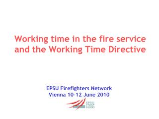 Working time in the fire service and the Working Time Directive