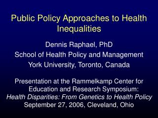 Public Policy Approaches to Health Inequalities