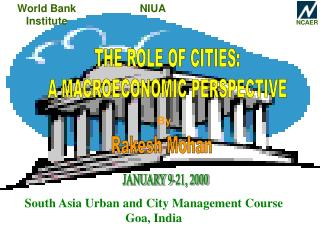 THE ROLE OF CITIES: A MACROECONOMIC PERSPECTIVE